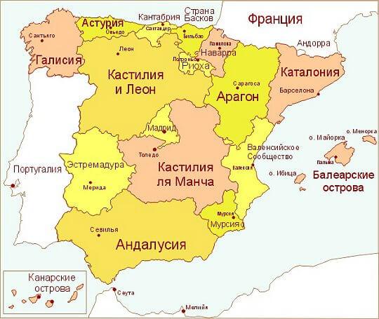 Карта Испании и провинций